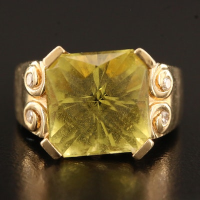14K Citrine Ring with Diamond Accents