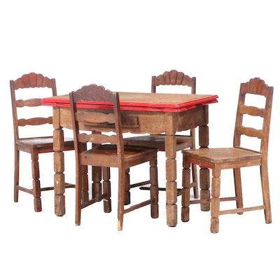 Primitive Oak and Enamel Top Single Drawer Table and Chairs