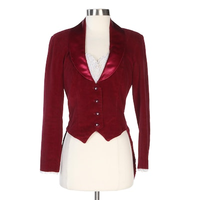 Angelica Burgundy Velveteen and Lace Trimmed Coattail Jacket
