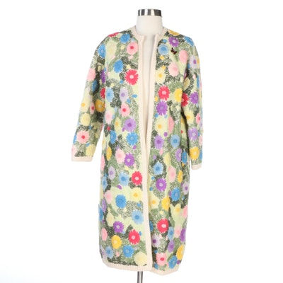 Fascine Floral Hand Embroidered Wool Knit Long Sweater Jacket, Vintage