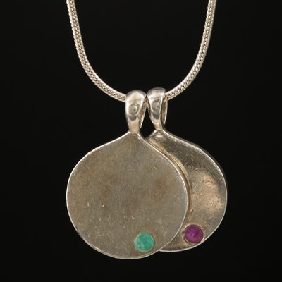 Sterling Emerald and Tourmaline Disc Pendant Necklace