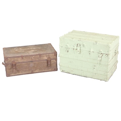 Two Metal-Mounted Wood Trunks, Incl. Late Victorian Example, 19th/20th Century