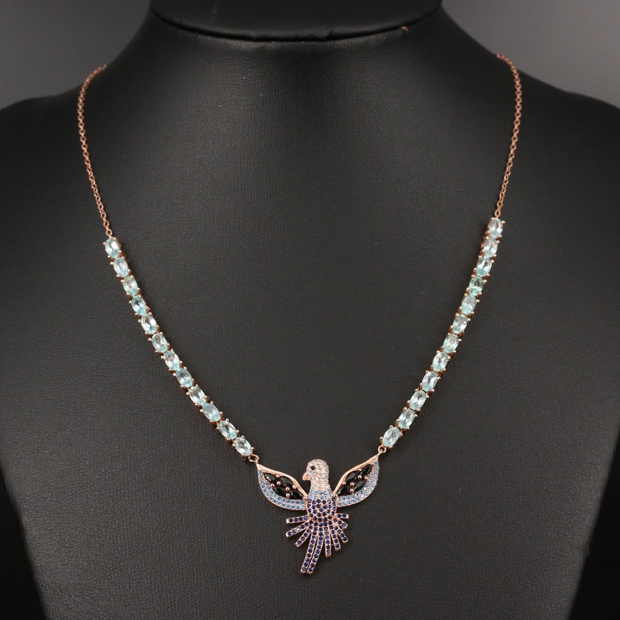Sterling Silver Apatite and Cubic Zirconia Dove Pendant Necklace