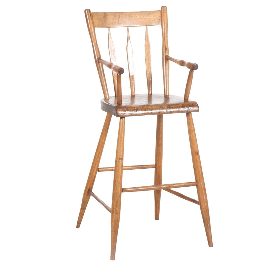 Arrow Back Oak Child's High Chair, Late 19th to Early 20th Century