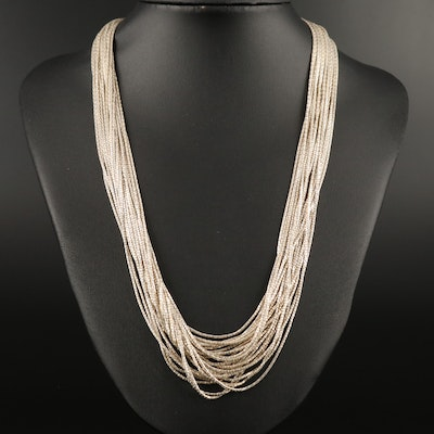 Sterling Silver Fancy Link Multi-Strand Necklace