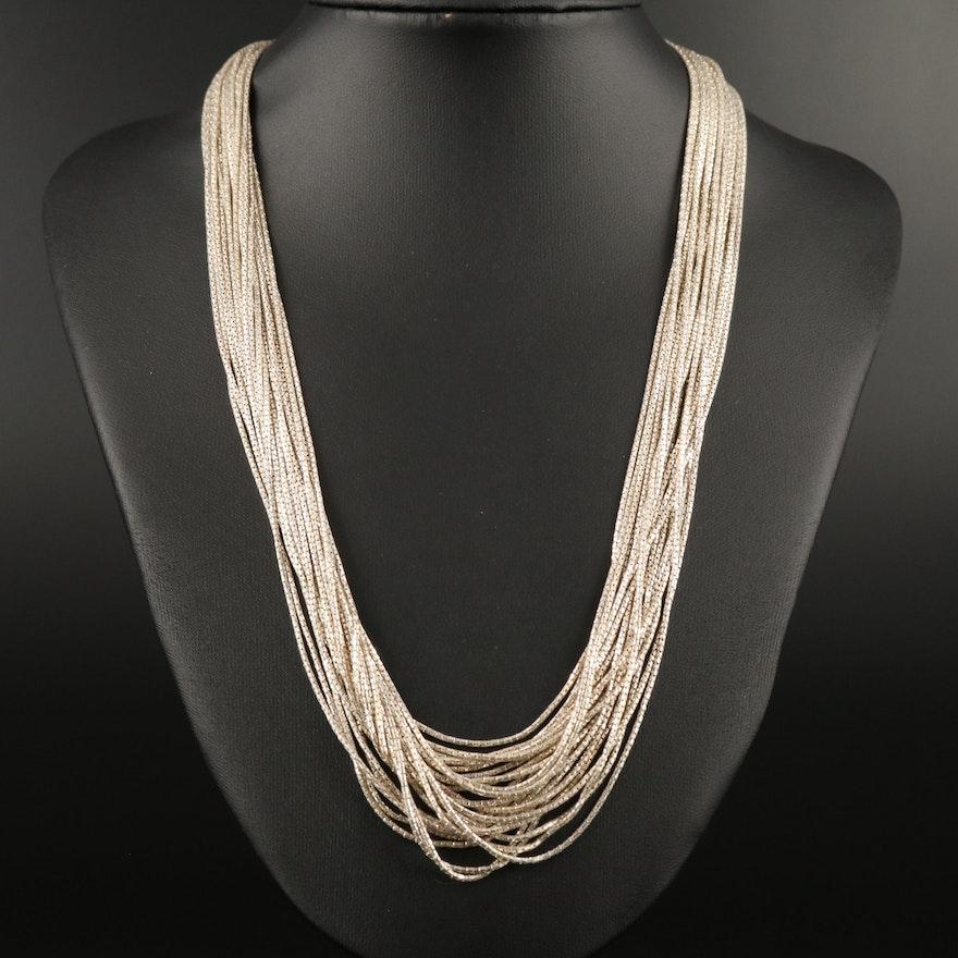 Sterling Silver Fancy Link Multi-Strand Necklace