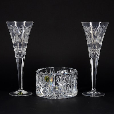 "Waterford Crystal ""Millennium Collection"" Toasting Flute Pair and Bowl"