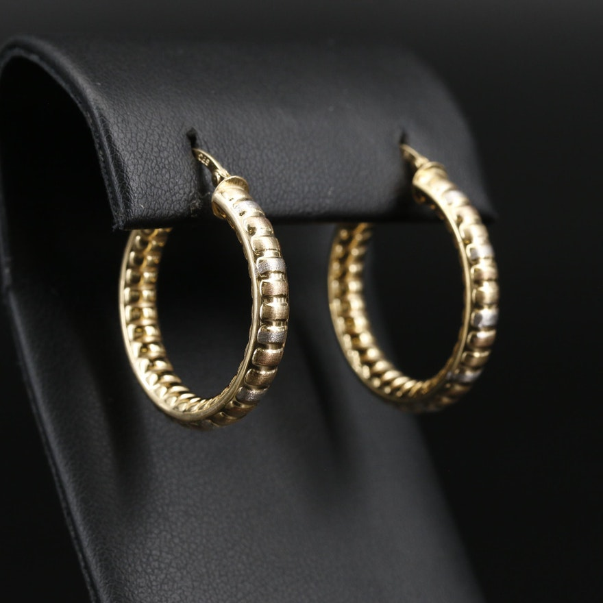 14K Ribbed Hoop Earrings