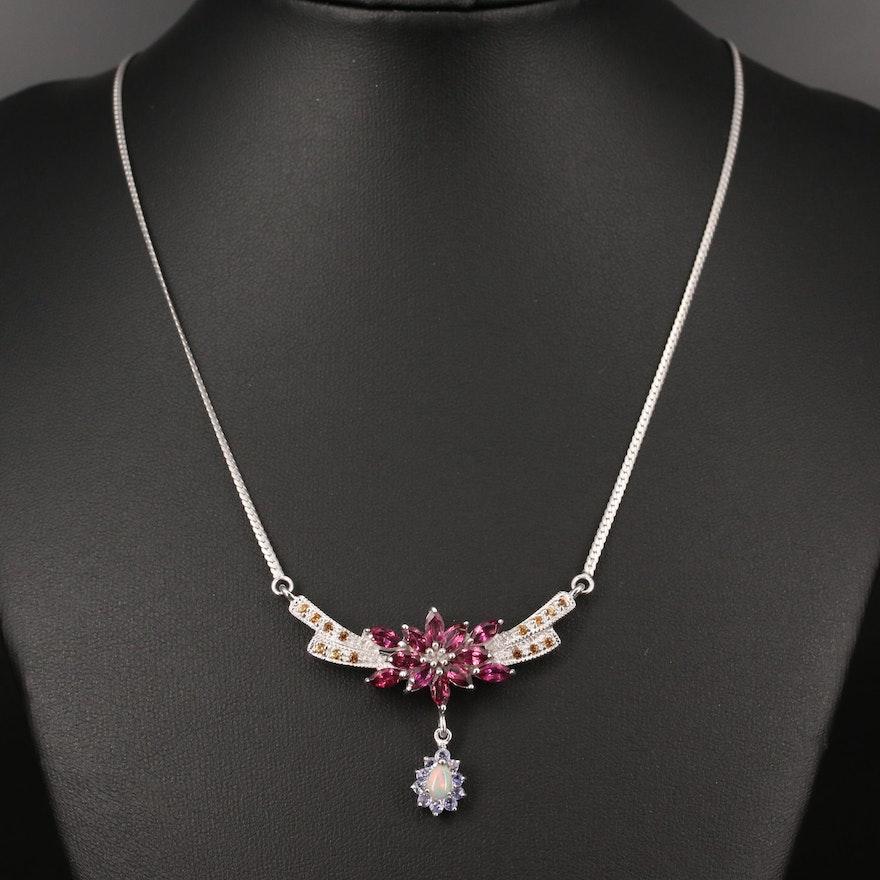 Sterling Rhodolite Garnet, Opal and Sapphire Floral Stationary Pendant Necklace
