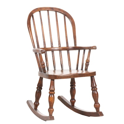 Child's Wooden Windsor Armchair Rocker, 19th Century