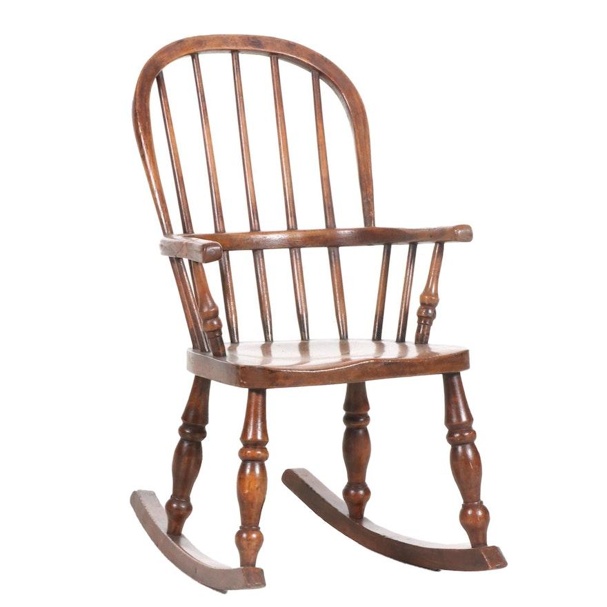 Child's Wooden Windsor Armchair Rocker, 19th Century