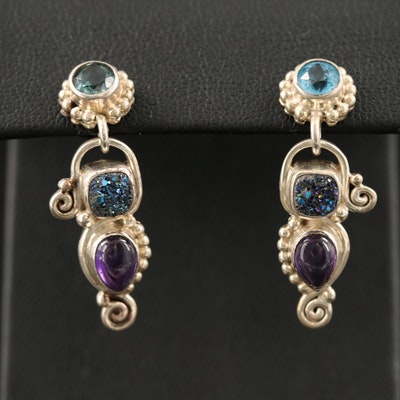 Sajen Sterling Drop Earrings with Topaz, Druzy and Amethyst