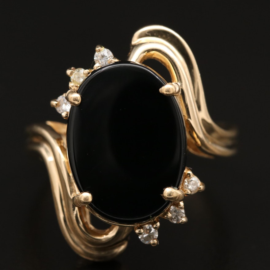 14K Black Onyx, Diamond and Cubic Zirconia Bypass Ring