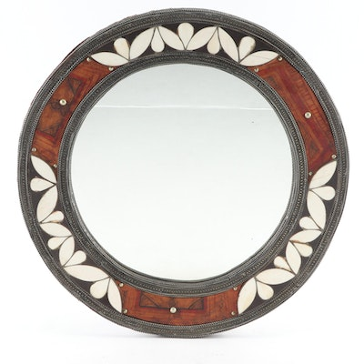 Moroccan Bone, Wood, and Painted Leather Round Wall Mirror