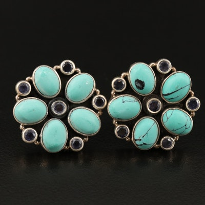 Sterling Iolite and Faux Turquoise Medallion Pattern Earrings