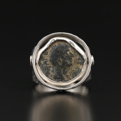 Sterling Ring with Circa 150 A.D. Coin of Antoninus Pius and Marcus Aurelius