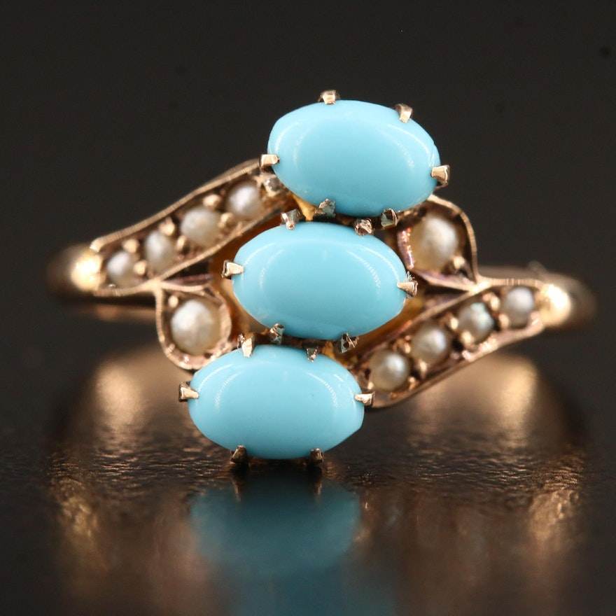 Victorian 10K Turquoise and Pearl Ring