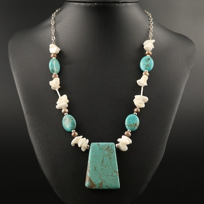 Sterling Magnesite and Mother of Pearl Beaded Necklace