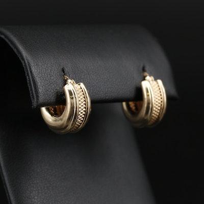 14K Hoop Earrings with Textured Design