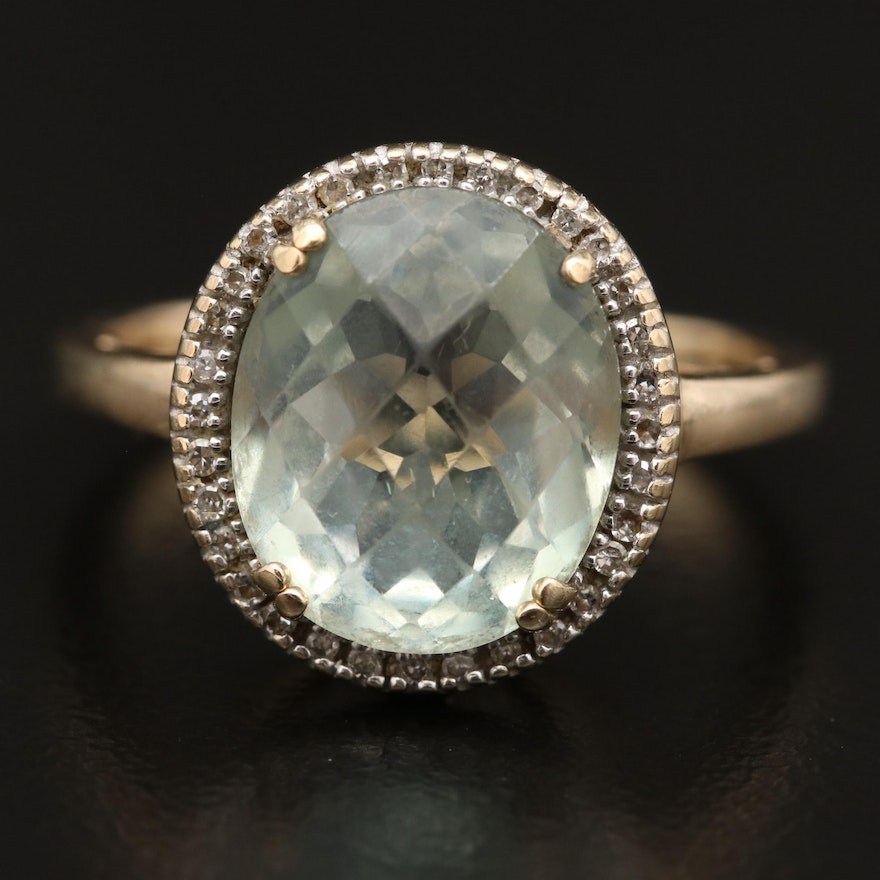10K Prasiolite and Diamond Halo Ring with Openwork Gallery