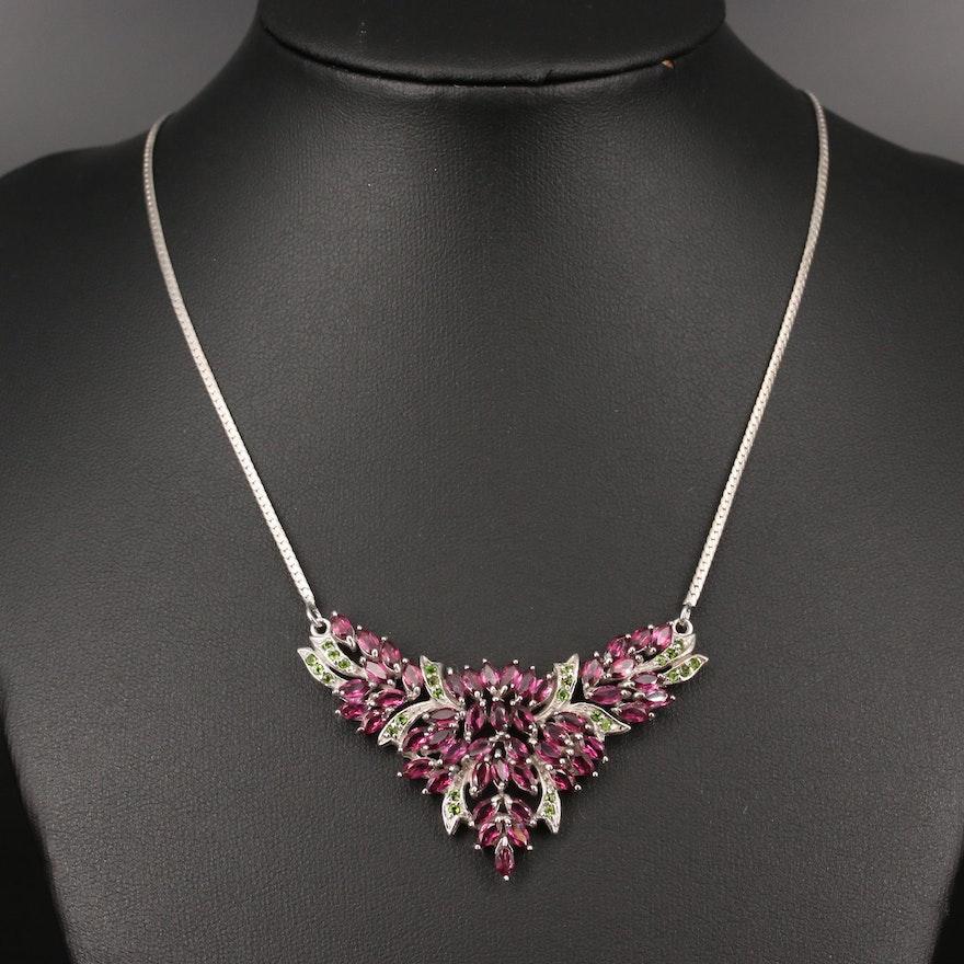 Sterling Silver Rhodolite Garnet and Diopside Foliate Stationary Necklace
