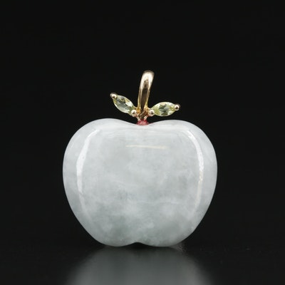 Carved Jadeite and Peridot Apple Pendant with 10K Accents