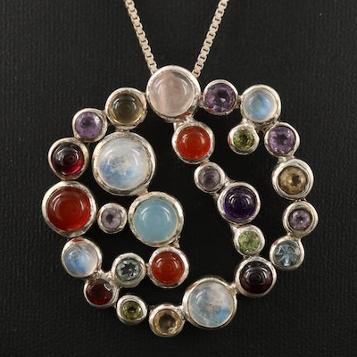 Sterling Cluster Pendant Including Labradorite, Carnelian and Amethyst