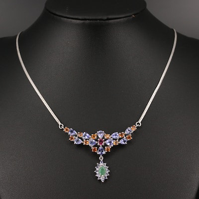Sterling Emerald, Tanzanite and Rhodolite Garnet Stationary Pendant Necklace