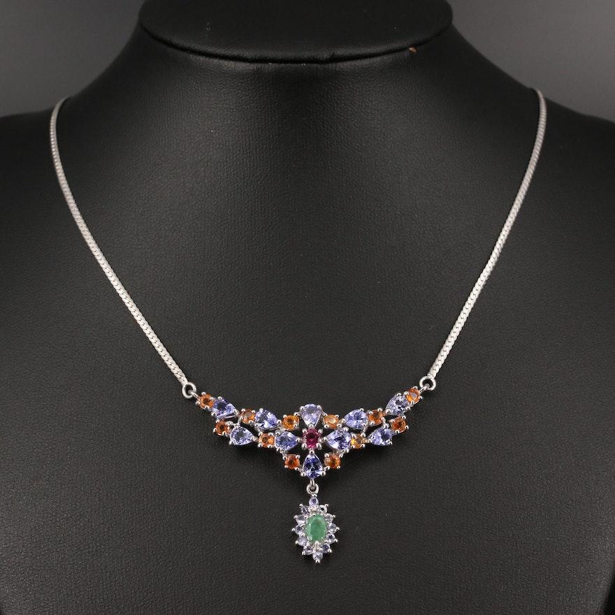 Sterling Emerald, Tanzanite and Rhodolite Garnet Stationary Pendant Necklace