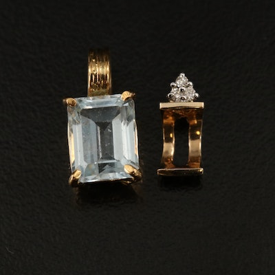 18K Topaz Pendant with 14K Diamond Semi-Mount Pendant