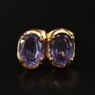 18K Color Change Sapphire Stud Earrings