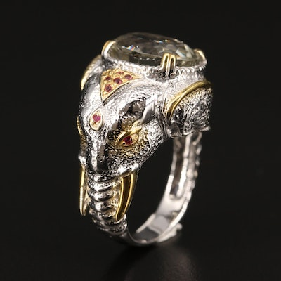 Sterling Prasiolite and Garnet Elephant Motif Ring