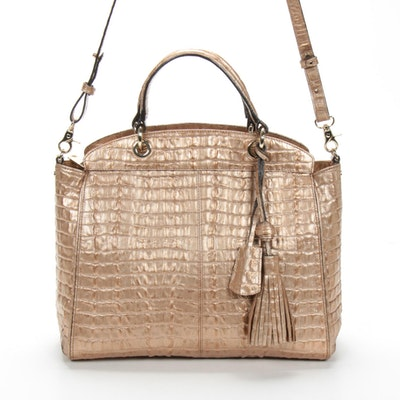 Brahmin Gold Crocodile Embossed Leather Satchel