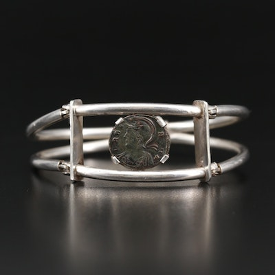 Sterling Hinged Bracelet with Circa 337 A.D. Roman Imperial Commemorative Coin