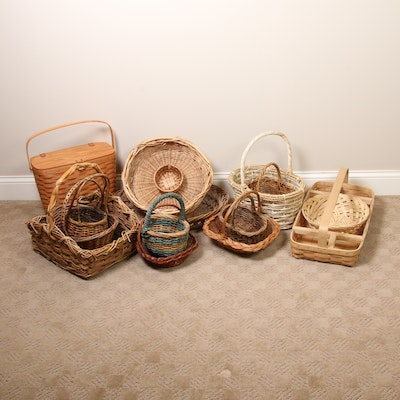 Decorative Woven and Wicker Baskets, Late 20th Century