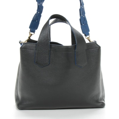Iacucci Black Pebbeled Leather with Blue Edges Shoulder Bag