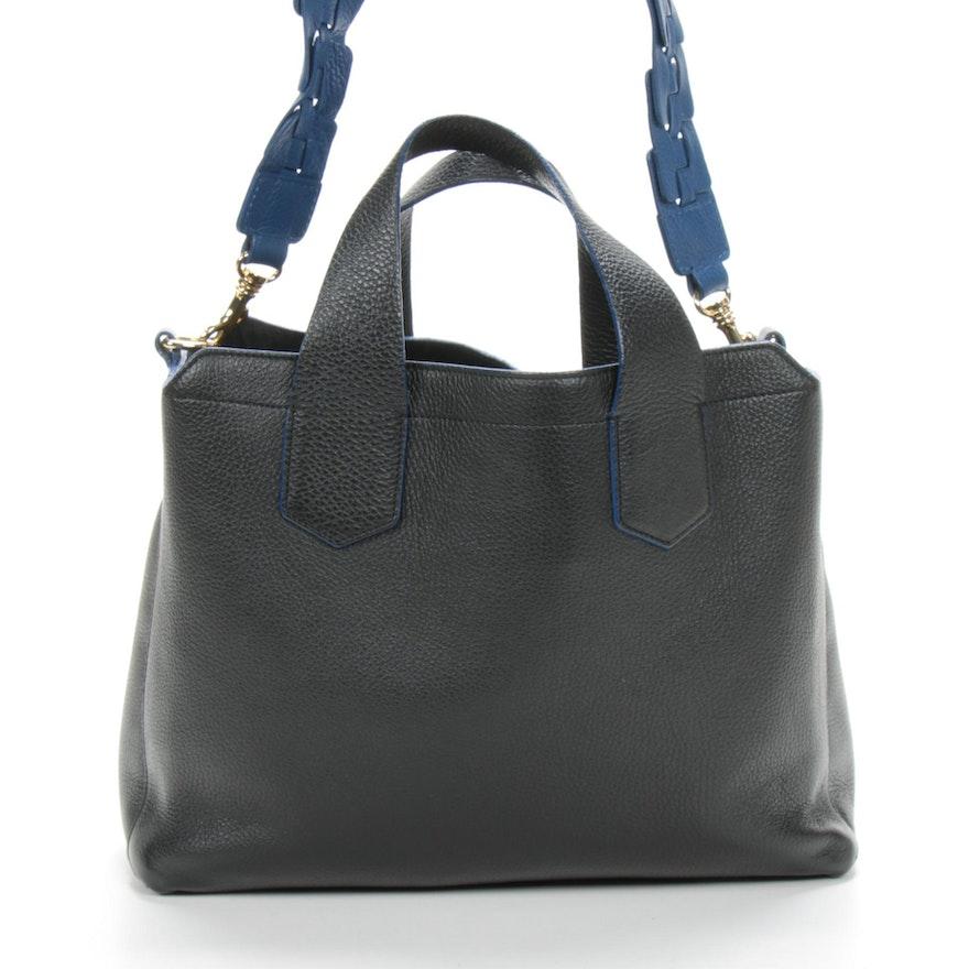Iacucci Black Pebbeled Leather with Blue Edges Shoulder Bag