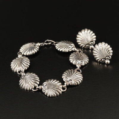 Vintage Danecraft Sterling Shell Motif Bracelet and Screw Back Earrings Set