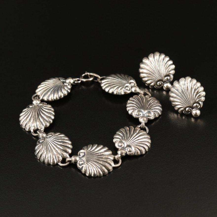 Vintage Danecraft Sterling Shell Motif Bracelet and Screw Back Earrings Set