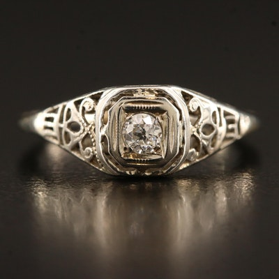 Art Deco 18K Diamond Openwork Ring