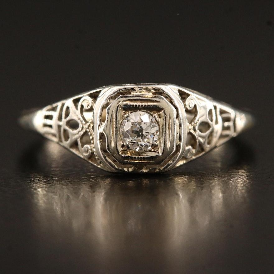 Art Deco 18K Diamond Openwork Ring
