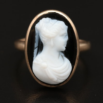 Victorian 10K Bezel Set Onyx Cameo Ring