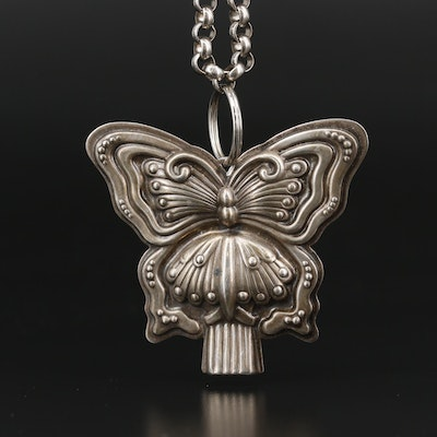 Vintage Sterling Silver Reed & Barton Whistle Butterfly Necklace