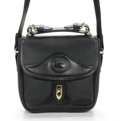 Dooney & Bourke Black Pebbled Leather Flap Shoulder Bag
