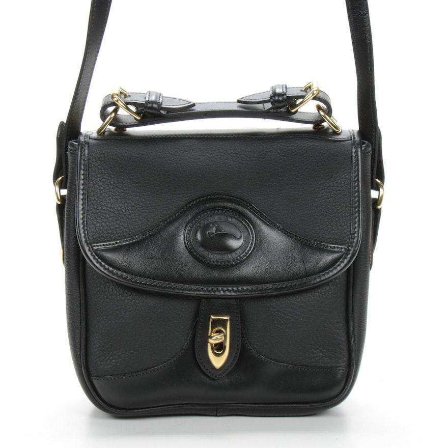 Dooney & Bourke Black Pebbled Leather Flap Shoulder Bag