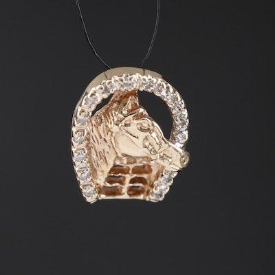 10K Diamond Horseshoe Pendant