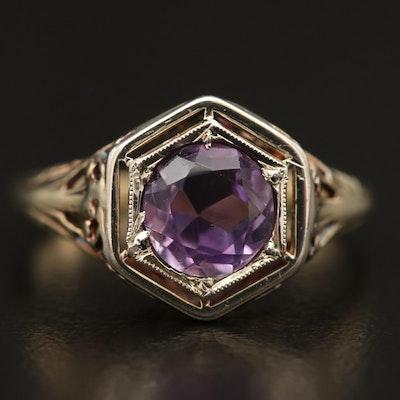 Art Deco 14K Amethyst Ring Featuring Wire Work Design