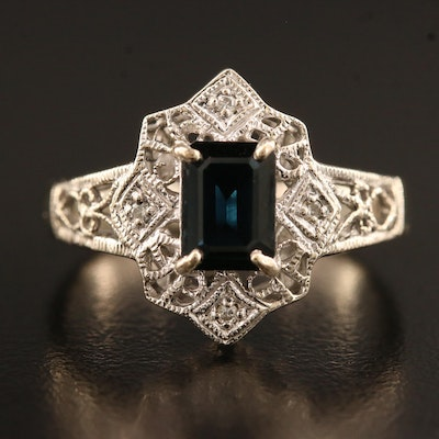 14K Openwork Sapphire and Diamond Ring with Milgrain Detail