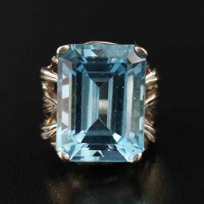 14K 34.14 CT Swiss Blue Topaz Openwork Ring