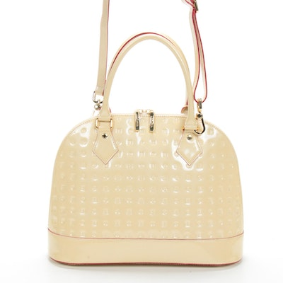 Arcadia Cream Patent Leather Shoulder Bag